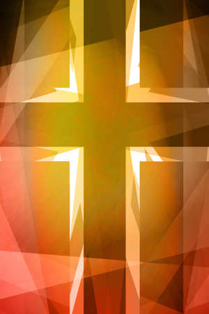 christian cross: Red and orange religious cross background