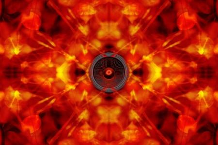 psych: Audio speaker on a groovy orange background Stock Photo