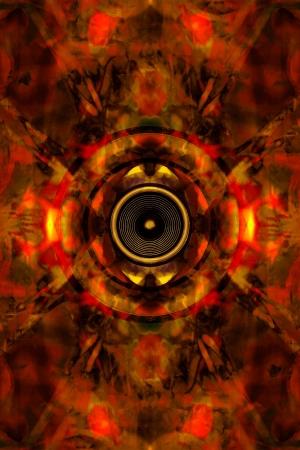 Audio speaker on an orange pattern background Standard-Bild