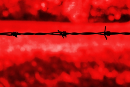 Barbed wire silhouetted against a red background photo