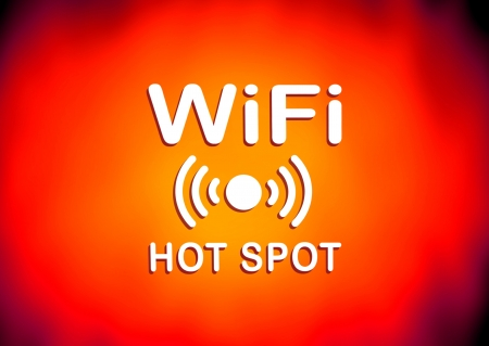 Orange and red WiFi hotspot sign