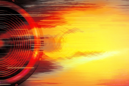 Red and yellow audio speaker background