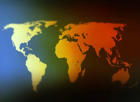 World map day and night tilt shift background