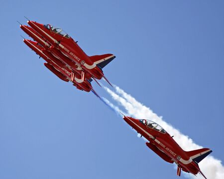 high flown: The Red Arrows flying in formation at Swansea air show, 2013