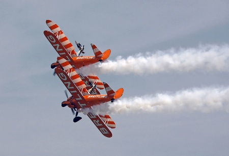 high flown: Wing walkers at Swansea air show, South Wales, UK, 13th July 2013
