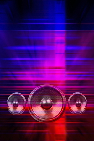 laser lights: Audio speakers and party lights background Stock Photo