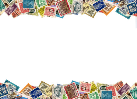 mailed: Postage stamps from many different countries, copy space Editorial
