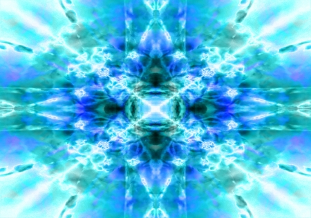 Light blue and green kaleidoscope background pattern