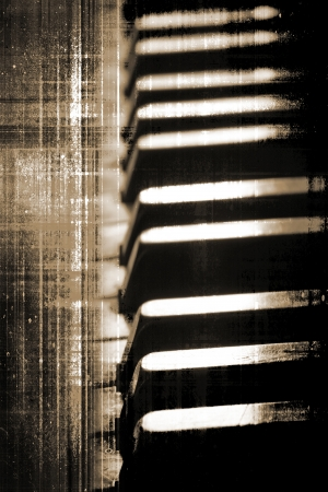 Grunge piano keys close up, selective focus