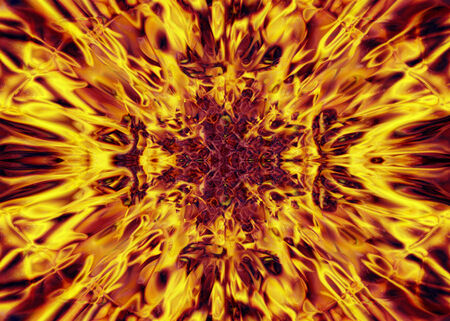 hades: Orange and yellow kaleidoscope fire background Stock Photo
