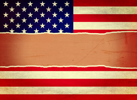 United States of America flag wrapping paper torn through the centre