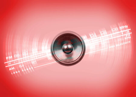 Audio speaker and radio dial on a red background with vignette photo