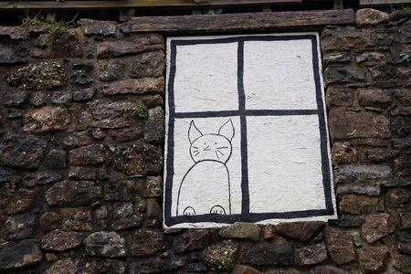 boarded: Painted cat on a boarded up window