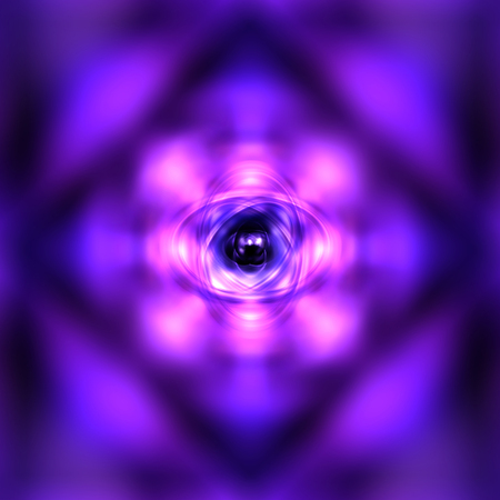 atomic nucleus: Purple glowing atom background Stock Photo