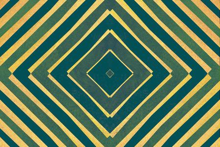 vertigo: Retro green and yellow striped diamond shapes pattern Stock Photo