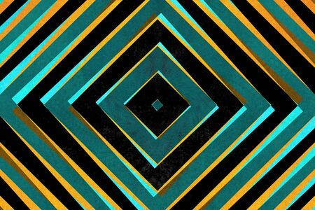converge: Retro black, blue and yellow striped diamond shapes pattern Stock Photo