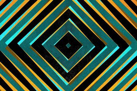 Retro zwart, blauw en geel gestreepte diamant vormen patroon Stockfoto