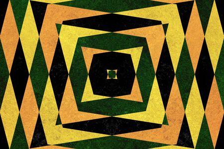 vertigo: Retro green, yellow and black diamond shapes pattern