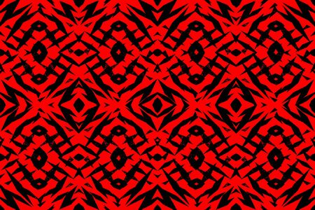 rough: Rough red and black tribal shapes pattern Stock Photo