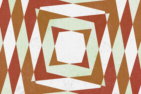 converge: Retro green, red and brown diamond shapes pattern Stock Photo