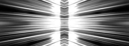 diverge: Radiating white light burst banner on a black background Stock Photo