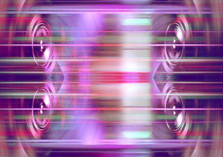 Audio speakers with blured purple light streaks