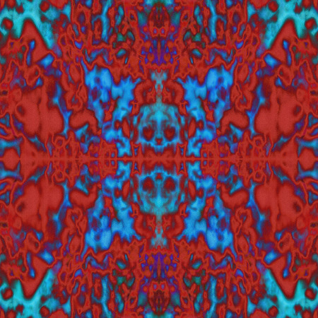 Psychedelic red and blue kaleidoscope pattern