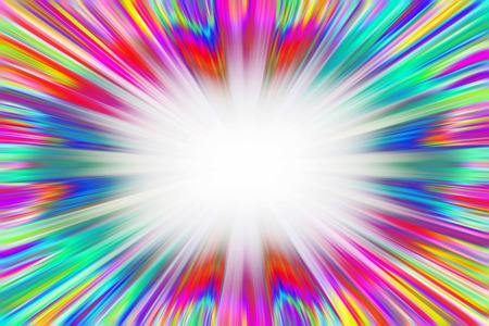converge: Bright and colourful starburst explosion with a white copy space centre