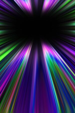 converge: Colourful purple and green starburst light trails with a black copy space centre