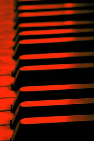 Old piano keys close up, selective focus Stock Photo
