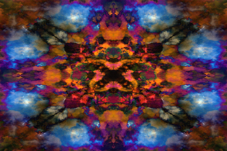 Orange and blue psychedelic kaleidoscope cloud pattern