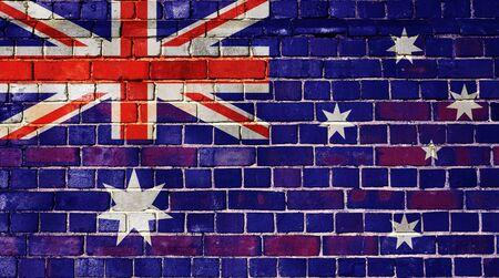 Australian flag on an old brick wall background Stock Photo