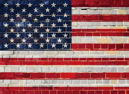 United States of America flag on an old brick wall background Stock Photo