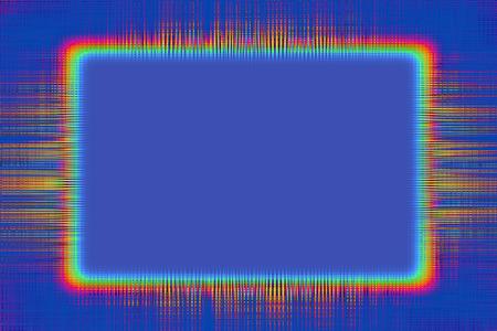 青色の背景にオレンジ色の線の枠