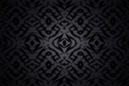 センター スポット ライトで暗い灰色と黒の部族の図形パターン