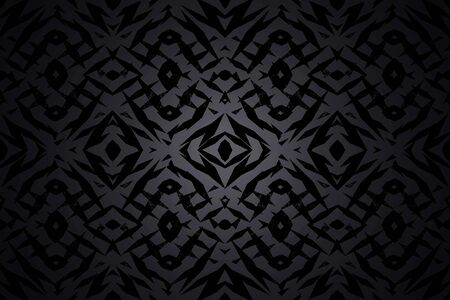 Dark grey and black tribal shapes pattern with a centre spotlight Banco de Imagens