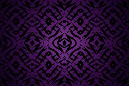 センター スポット ライトで紫と黒の部族図形パターン 写真素材
