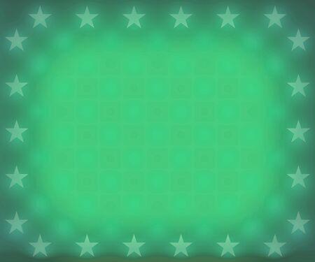 Faded green stars border frame background Stock Photo