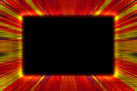 Red and yellow sunburst border frame on a black background