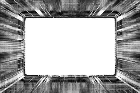Black and white grunge frame with a white background