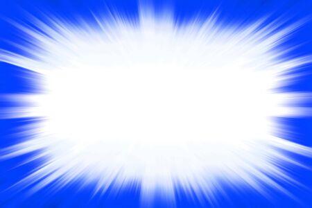 白いコピースペースセンターを持つ青いスターバースト爆発フレーム 写真素材