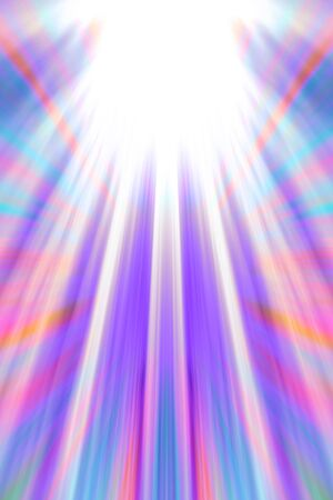 Colourful light beams background with white copy space