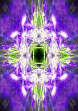 Colourful purple and green kaleidoscope cross background