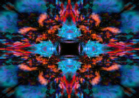 Colourful red and blue kaleidoscope background