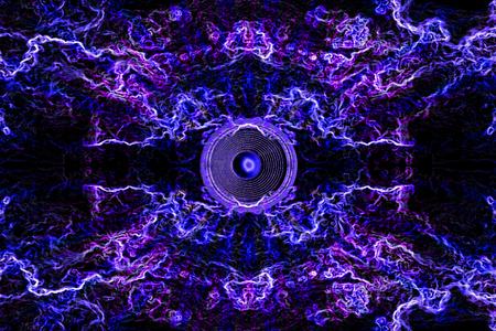Haut-parleur bleu et violet avec traînées de néons