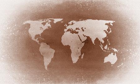 Old brown grunge world map