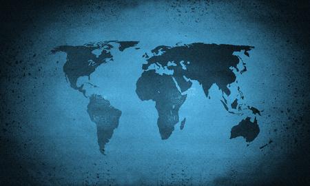 Cold blue rough grunge world map