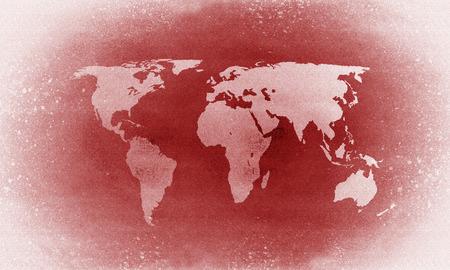 Old red grunge world map