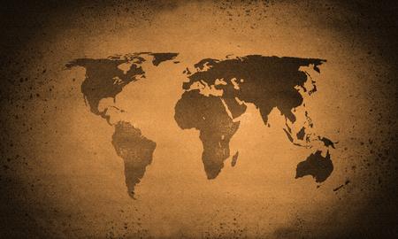 Orange rough grunge world map