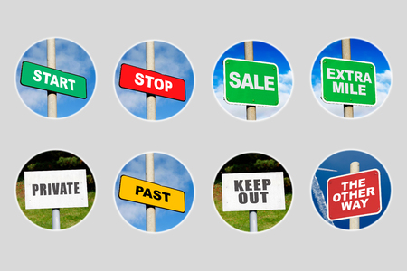Collection of 8 signs in circles on grey Stock Photo